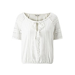 Miss Selfridge - Cream pom pom trim gypsy top