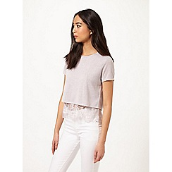 Miss Selfridge - Grey lace split back tee
