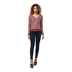 Miss Selfridge - Burgundy crochet hem top