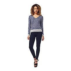Miss Selfridge - Blue crochet hem top