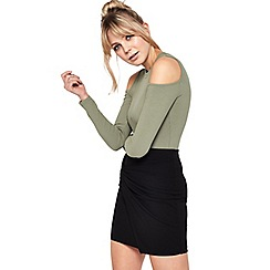 Miss Selfridge - Khaki cold shoulder body top