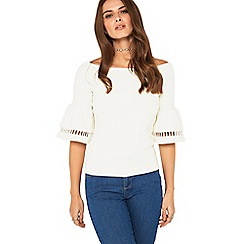 Miss Selfridge - Cream ladder trim bardot top