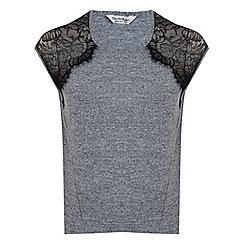 Miss Selfridge - Grey lace shoulder tee
