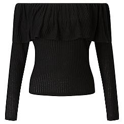 Miss Selfridge - Black bardot frill top