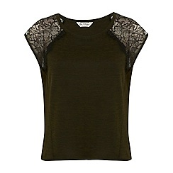 Miss Selfridge - Lace shoulder tee