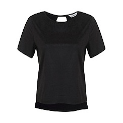 Miss Selfridge - Black suedette front tee