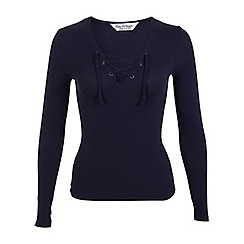 Miss Selfridge - Navy lace up top