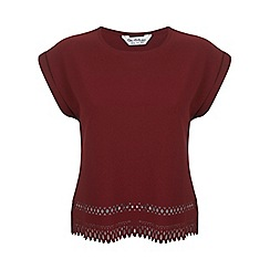 Miss Selfridge - Burgundy laser cut crepe tee