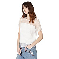 Miss Selfridge - Cream plisse mesh top
