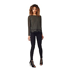Miss Selfridge - Khaki lace split back tee