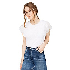 Miss Selfridge - White spot mesh trim t-shirt