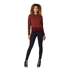 Miss Selfridge - Burgundy lace hem top