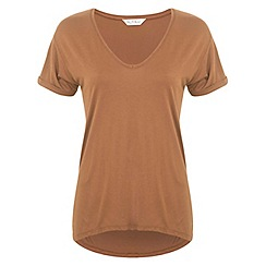 Miss Selfridge - Tan longline v tee