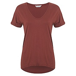 Miss Selfridge - Rust longline v tee