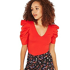 Miss Selfridge - Red mutton sleeves top