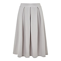 Miss Selfridge - Grey textured midi skirt