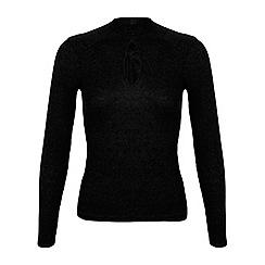 Miss Selfridge - Black keyhole rib top