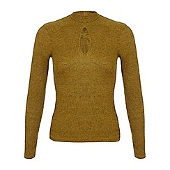 Miss Selfridge - Ochre keyhole rib top