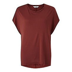 Miss Selfridge - Rust curve hem tee