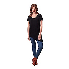 Miss Selfridge - Black v neck asymmetric tee