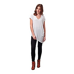 Miss Selfridge - White v neck asymmetric tee