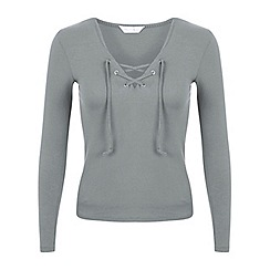 Miss Selfridge - Grey lace up rib top