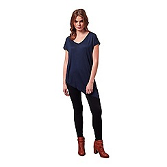 Miss Selfridge - Dark blue v neck asymmetric tee