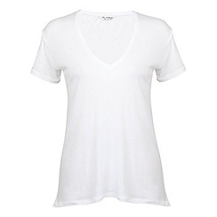 Miss Selfridge - White longline v neck tee