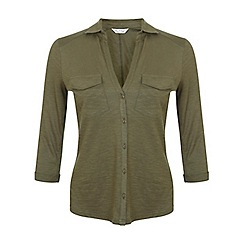 Miss Selfridge - Khaki jersey shirt