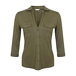 Miss Selfridge - Khaki jersey shirt