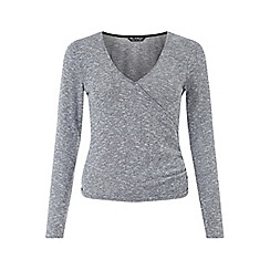 Miss Selfridge - Grey cut and sew wrap top