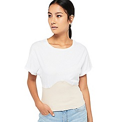 Miss Selfridge - White rib corset t-shirt