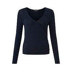 Miss Selfridge - Navy cut and sew wrap top