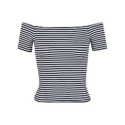 Miss Selfridge - Stripe short sleeve bardot top