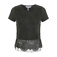 Miss Selfridge - Khaki lace hem split back top