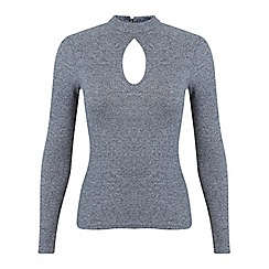 Miss Selfridge - Grey keyhole rib top
