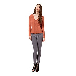 Miss Selfridge - Rust rib crochet top