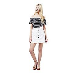 Miss Selfridge - Stripe frill bardot top