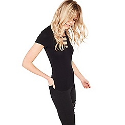 Miss Selfridge - Black plunge bar t-shirt