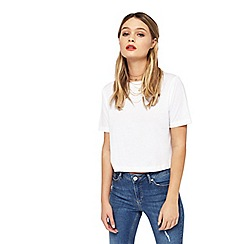 Miss Selfridge - White crop t-shirt