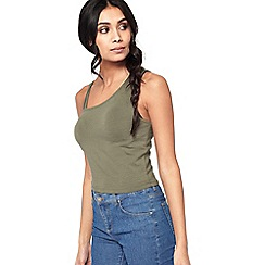 Miss Selfridge - Khaki asymmetric strappy crop top