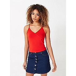 Miss Selfridge - Red mock wrap crop