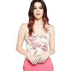Miss Selfridge - Red floral square neck crop top