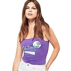 Miss Selfridge - Purple surf print crop top