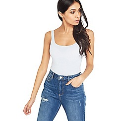 Miss Selfridge - Blue square neck crop top