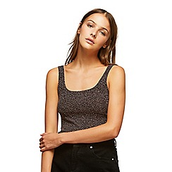 Miss Selfridge - Glitter square neck crop top