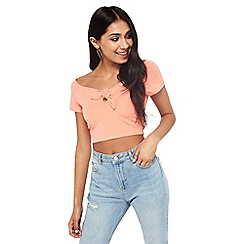 Miss Selfridge - Coral bunny tie crop top