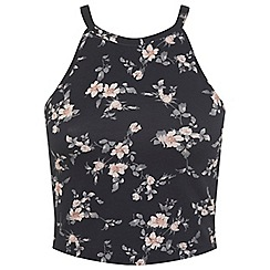 Miss Selfridge - Black floral 90s crop