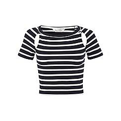 Miss Selfridge - Stripe short sleeve cutout top