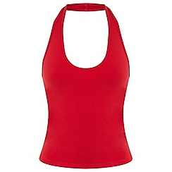 Miss Selfridge - Red halter neck top